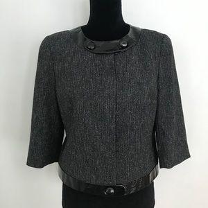 Worthington Cropped Jacket Gray Black Tweed